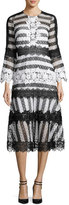 Sachin + Babi Striped Eyelet Lace Midi Dress, Black/White