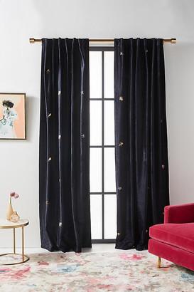 "Anthropologie Embroidered Velvet Wyatt Curtain By in Blue Size 50"" X 96"""