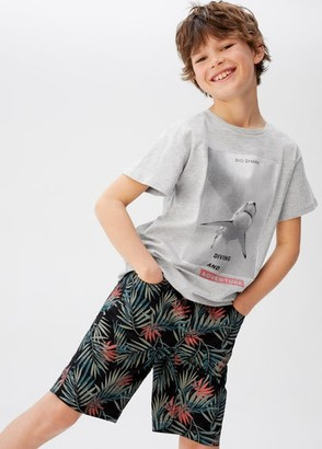 MANGO Printed cotton shirt medium heather grey - 5 - Kids