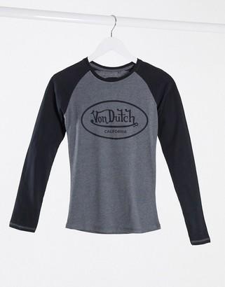 Von Dutch logo long sleeve top in raglan sleeve