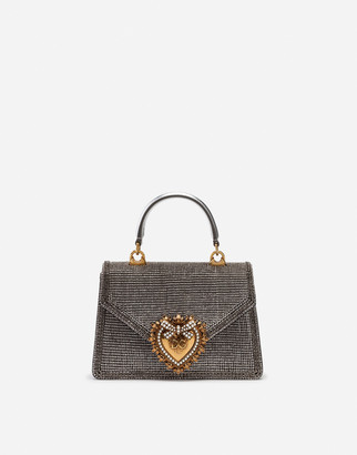 Dolce & Gabbana Small Devotion Bag In Mordore Nappa Leather With Rhinestone Detailing