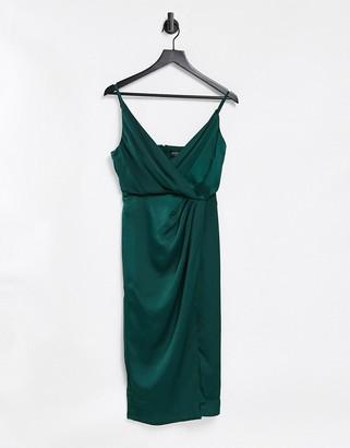 Little Mistress satin wrap dress in forest green