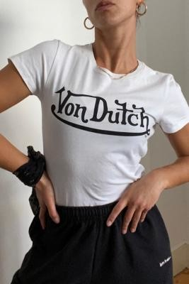 Von Dutch White Logo T-Shirt - White UK 10 at Urban Outfitters