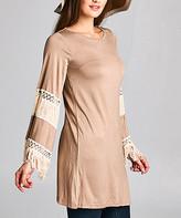 Simply Boho La Simply Boho LA Women's Casual Dresses mocha - Mocha Fringe-Trim Shift Dress - Women