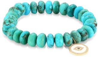Sydney Evan 14K Yellow Gold, Diamond, Sapphire & Turquoise Evil Eye Beaded Bracelet