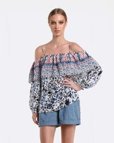 Coco Ribbon Blossom Bee Off-The-Shoulder Blouse