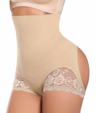 COMFREE High Waist Butt Lifter Seamless Hip Enhancer Shapewear Tummy Control Knickers Butt Push Up Shaping Panty Slimming Pants Open Butt Slimming Briefs for Women Beige Size 10