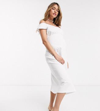 Asos DESIGN Maternity off shoulder midi sundress with pep hem in white