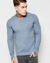 Diesel Crew Knit Jumper K-maniky Slim Fit In Light Blue