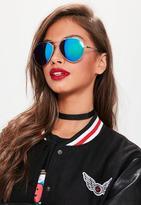 Missguided Tapered Aviator Mirrored Sunglasses