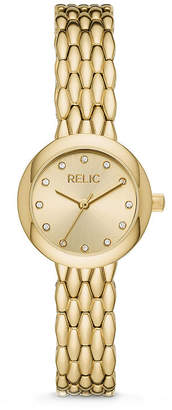 Fossil RELIC BY Relic By Lois Womens Crystal Accent Gold Tone Bracelet Watch-Zr34567