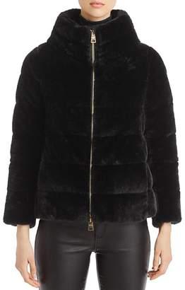 Herno Faux Fur Short Cape Down Coat