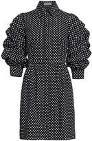 Michael Kors Ruched-Sleeve Cotton Shirt Dress