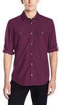 Calvin Klein Men's Roll Tab Utility Long Sleeve Button Down Shirt