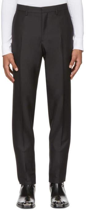 Calvin Klein Black Wool and Mohair Slim Trousers