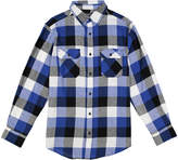 Royal Blue Plaid Flannel Long-Sleeve Button-Up