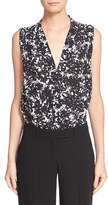 Michael Kors Women's 'August' Floral Print Sleeveless Silk Blouse