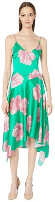 Fleur Du Mal Handkerchief Dress (Mega Rose Print/Monaco Green) Women's Clothing
