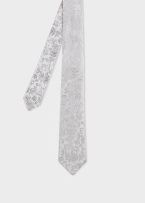Paul Smith Men's Steel Grey Floral Jacquard Narrow Silk Tie