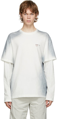 C2H4 White and Grey Double Layer Long Sleeve T-Shirt