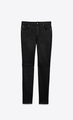 Saint Laurent High-rise Skinny Pants In Grained Stretch Leather Black 10