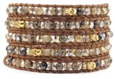 Chan Luu Abalone and Skull 5-Wrap Natural Brown Leather Bracelet