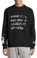 Lanvin Geometry Distressed Sweatshirt, Black