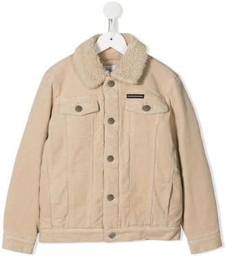 Calvin Klein Kids Corduroy Shearling Logo Jacket