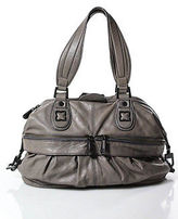 BCBGMAXAZRIA Gray Leather Round Structured Small Satchel Handbag