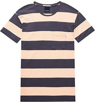 Scotch & Soda Men's AMS 1 Pocket Regular Fit Coloured Striped T-Shirt,Large