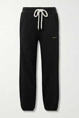 Twenty Montreal Sunnyside Embroidered Terry-trimmed Cotton-blend Jersey Trackpants - Black