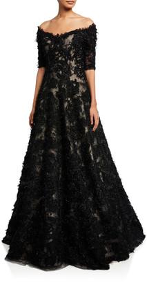 Rickie Freeman For Teri Jon Premier Off-the-Shoulder Elbow-Sleeve Metallic Textured A-Line Gown