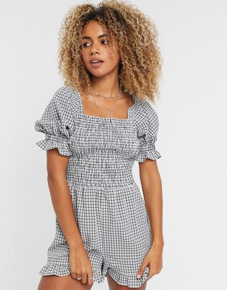 Topshop shirred playsuit in gingham
