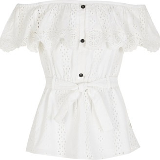 River Island Girls white broderie bardot tie belted top