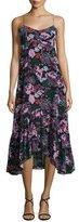 Saloni Inga Floral-Print Sleeveless Midi Dress, Black/Multicolor