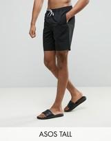 Asos TALL Swim Shorts In Black Mid Length