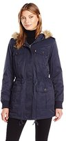 Levi's Women's Coated Cotton Four Pocket Sherpa Lined Mid Length Parka