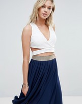 Wal G Cross Front Crop Top