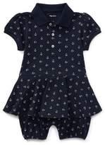 Ralph Lauren Mesh Anchor-Print Play Dress, Blue, Size 3-18 Months