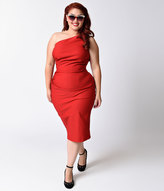 Stop Staring Plus Size 1940s Style Red Gathered Single Shoulder Ava Dress