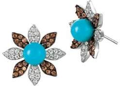 LeVian Le Vian Robins Egg Blue TurquoiseTM, White Sapphire, Chocolate Quartz? and 14K Vanilla Gold? Earrings