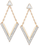 Swarovski Rose Gold-Tone Crystal Chevron Drop Earrings