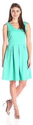 Tiana B Women's Sleeveless Dress Pleated Skirt Inset Waistband and Keyhole Back Neck