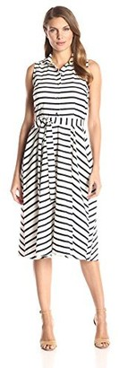 Julian Taylor Women's Striped Sleeveless Shirt Dress Navy/White 16