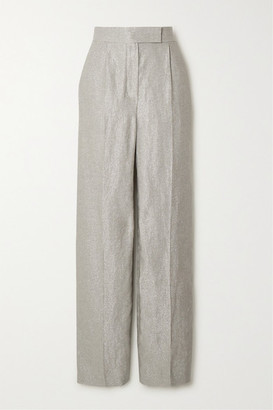 Brunello Cucinelli Metallic Linen-blend Straight-leg Pants - Silver