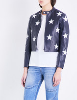 Sandro Star motif leather jacket