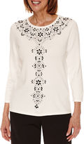 Alfred Dunner Wrap It Up 3/4 Sleeve Embellished Crew Neck Pullover Sweater-Petites