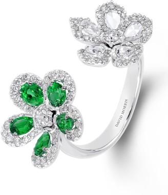 David Morris White Gold, Diamond and Emerald Miss Daisy 2 Flower Ring
