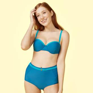 Summersalt The Fused Delta Bikini Top - Pacific & Blue Lagoon