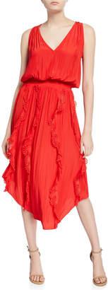 Ramy Brook Vanesa Sleeveless Eyelet Ruffle Midi Dress